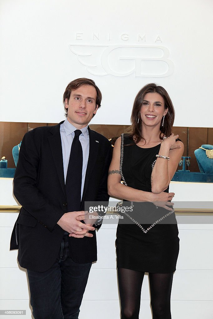 Giorgio Bulgari and <a gi-track='captionPersonalityLinkClicked' href=/galleries/search?phrase=Elisabetta+Canalis&family=editorial&specificpeople=2292377 ng-click='$event.stopPropagation()'>Elisabetta Canalis</a> attend the 'Luce Preziosa' presentation at the GB ENIGMA by Gianni Bulgari boutique on December 13, 2013 in Rome, Italy. Luce Preziosa is an inspiring christmas jewellery and light TechoArt opera by the artist Geo Florenti.