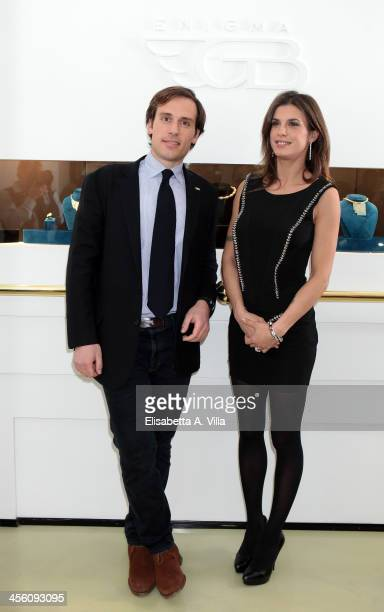 Giorgio Bulgari and Elisabetta Canalis attend the 'Luce Preziosa' presentation at the GB ENIGMA by Gianni Bulgari boutique on December 13 2013 in...