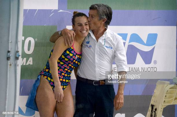 Giorgio Cagnotto kisses his daughter Tania Cagnotto after the Women's 1m springboard Final during the 2017 Indoor Diving Italian Championships Tania...