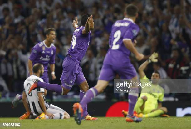 Giorgio Chellini of Juventus FC Cristiano Ronaldo of Real Madrid Casemiro of Real Madrid Daniel Carvajal of Real Madrid goalkeeper Gianluigi Buffon...