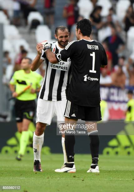 Giorgio Chiellini and Gianluigi Buffon of Juventus celebrate the victory during the Serie A match between Juventus and Cagliari Calcio at Allianz...