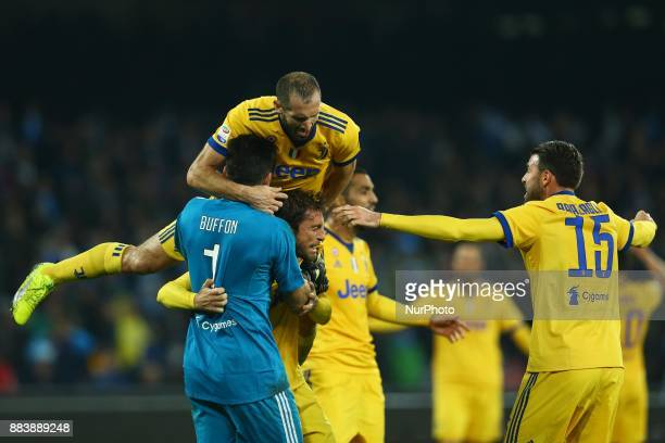 Giorgio Chiellini and Gianluigi Buffon of Juventus celebration during the Serie A match between SSC Napoli and Juventus at Stadio San Paolo on...