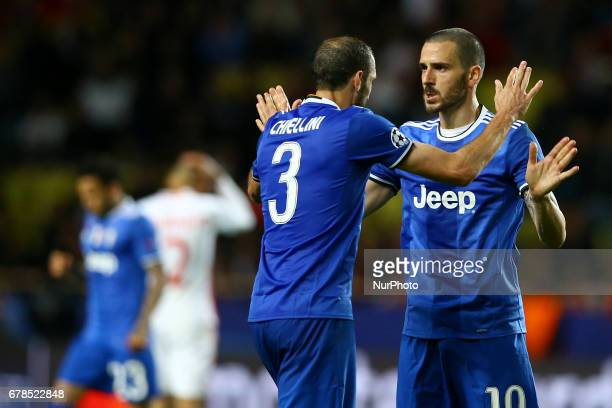 Giorgio Chiellini and Leonardo Bonucci of Juventus celebrating the victory during the UEFA Champions League Semi Final first leg match between AS...