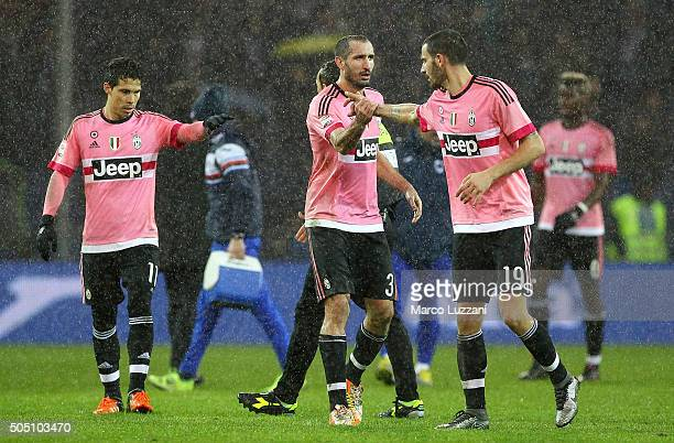 Giorgio Chiellini and Leonardo Bonucci of Juventus FC celebrate a victory at the end of the Serie A match between UC Sampdoria and Juventus FC at...