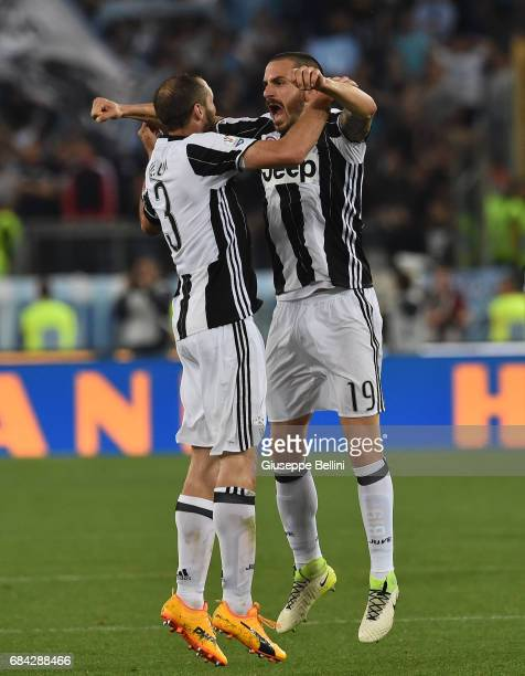 Giorgio Chiellini and Leonardo Bonucci of Juventus FC celebrate the victory after the TIM Cup Final match between SS Lazio and Juventus FC at...