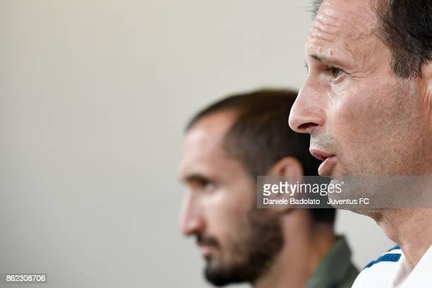 Giorgio Chiellini and Massimiliano Allegri during a Juventus press conference on October 17 2017 in Turin Italy