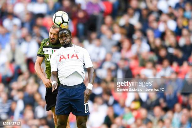 Giorgio Chiellini and Moussa Sissoko during the Tottenham Hotspur v Juventus PreSeason Friendly match at Wembley Stadium on August 5 2017 in London...