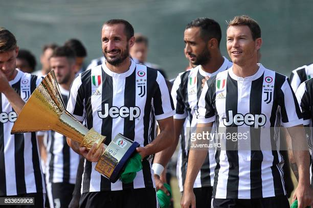 Giorgio Chiellini and Stephen Lichtsteiner of Juventus during the preseason friendly match between Juventus A and Juventus B on August 17 2017 in...