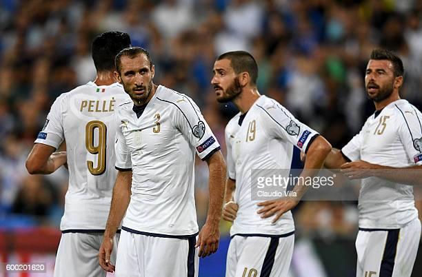 Giorgio Chiellini Andrea Barzagli and Leonardo Bonucci of Italy attend during the FIFA 2018 World Cup Qualifier between Israel and Italy at Itztadion...