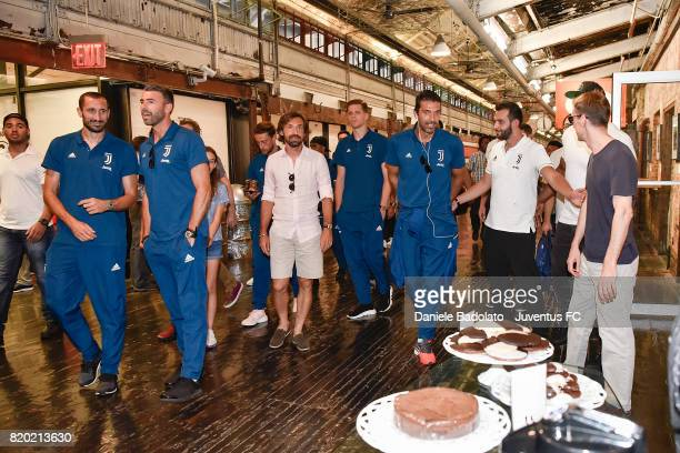 Giorgio Chiellini Andrea Barzagli Andrea Pirlo Wojciech Szczesny Gianluigi Buffon at Chelsea Market on July 20 2017 in New York City