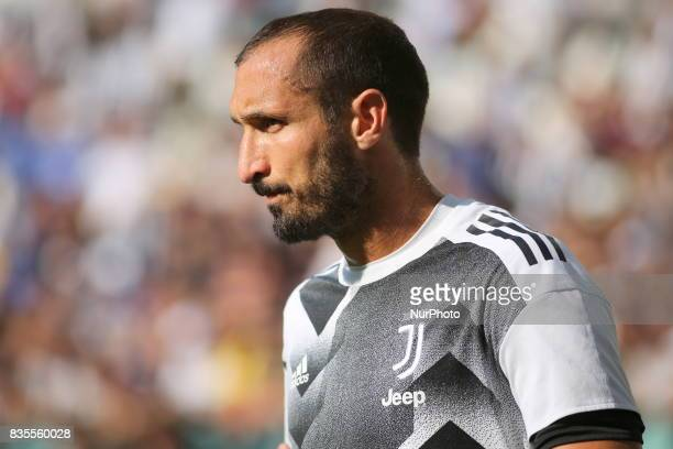 Giorgio Chiellini before the Serie A football match between Juventus FC and Cagliari Calcio at Allianz Stadium on august 19 2017 in Turin Italy