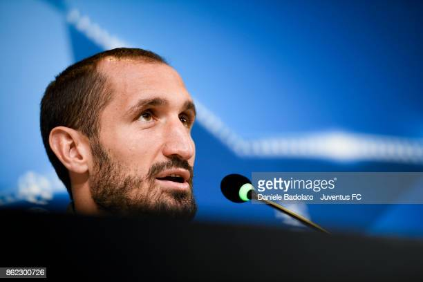 Giorgio Chiellini during a Juventus press conference on October 17 2017 in Turin Italy