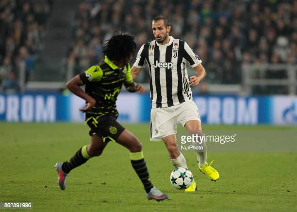 Giorgio Chiellini during Champions League match between Juventus and Sporting Clube de Portugal in Turin on October 17 2017