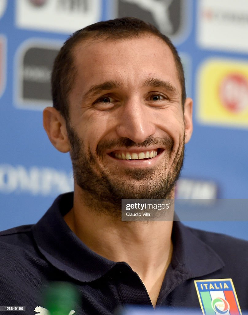 Giorgio Chiellini during Italy Press Conference at Coverciano on November 12, 2014 in Florence, Italy.