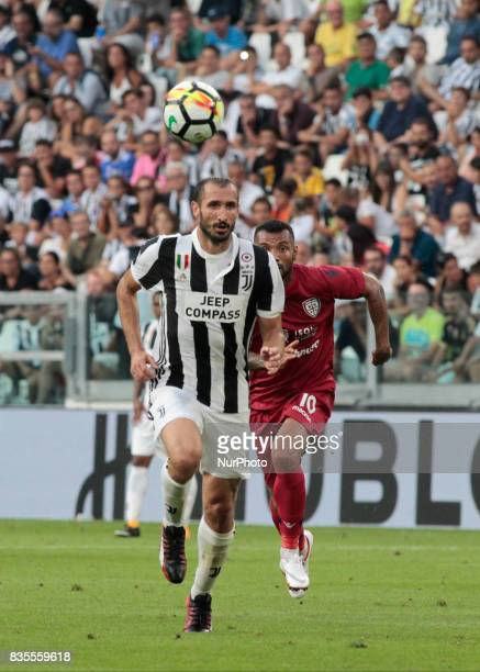 Giorgio Chiellini during Serie A match between Juventus v Cagliari in Turin on August 19 2017