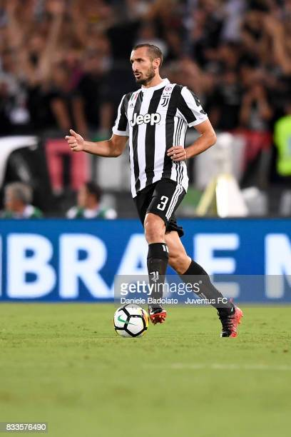 Giorgio Chiellini during the Italian Supercup match between Juventus and SS Lazio at Stadio Olimpico on August 13 2017 in Rome Italy