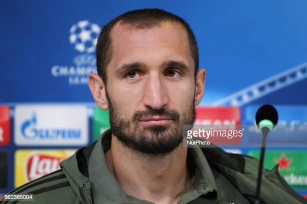 Giorgio Chiellini during the Juventus FC press conference on the eve of the UEFA Champions League match between Juventus FC and Sporting CP at...