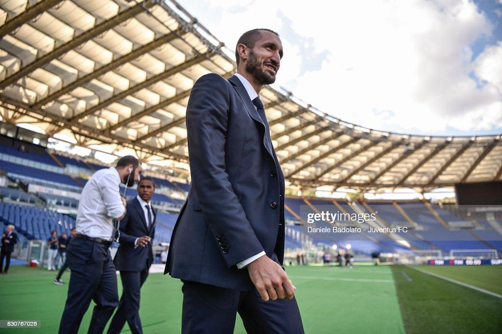 Giorgio Chiellini during the Juventus Walk Around ahead of the Italian Supercup at Olimpico Stadium on August 12, 2017 in Rome, Italy.