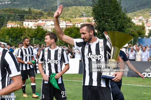 Giorgio Chiellini during the preseason friendly match between Juventus A and Juventus B on August 17 2017 in Villar Perosa Italy