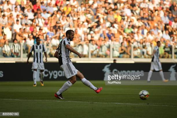 Giorgio Chiellini during the Serie A football match between Juventus FC and Cagliari Calcio at Allianz Stadium on august 19 2017 in Turin Italy