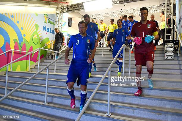 Giorgio Chiellini Gianluigi Buffon and players of Italy walk in the tunnel to the pitch after the half time during the 2014 FIFA World Cup Brazil...
