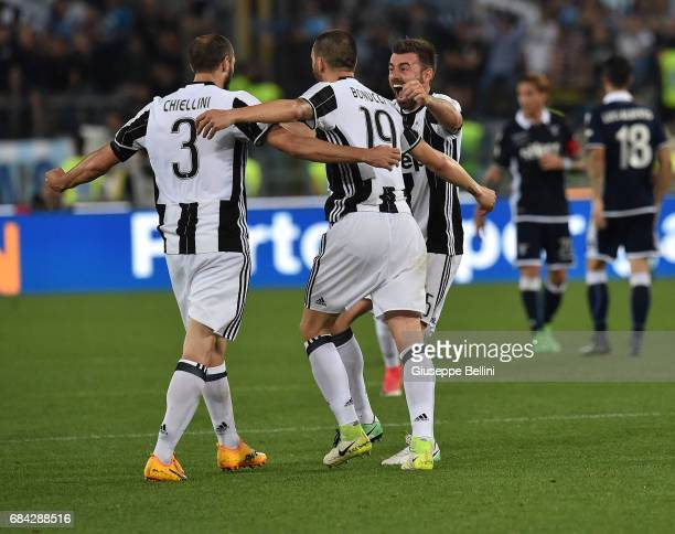 Giorgio Chiellini Leonardo Bonucci and Andrea Barzagli of Juventus FC celebrate the victory after the TIM Cup Final match between SS Lazio and...