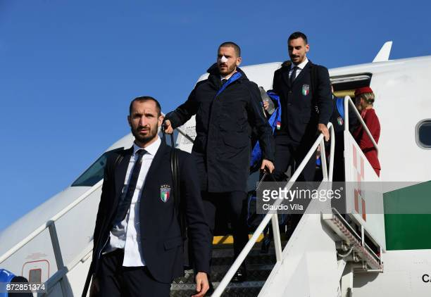 Giorgio Chiellini Leonardo Bonucci and Davide Zappacosta of Italy arrive at Malpensa airport on November 11 2017 in Milan Italy