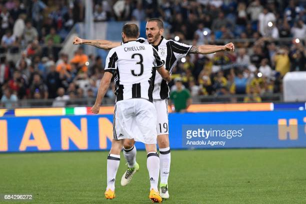 Giorgio Chiellini Leonardo Bonucci Juventus FC celebrate the victory during the TIM Cup soccer match between SS Lazio and FC Juventus at Stadio...