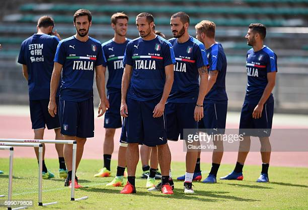 Giorgio Chiellini looks on during the Italy training session at Stadio San Nicola on September 4 2016 in Bari Italy