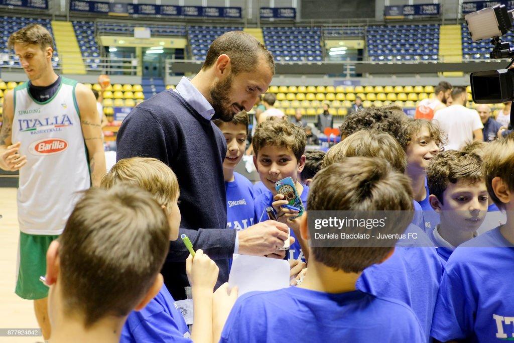 Juventus Player Giorgio Chiellini Meets Italy Basketball Team