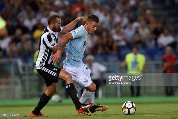 Giorgio Chiellini of FC Juventus in action against Sergej Milinkovic of SS Lazio during the Italian Super Cup soccer match between FC Juventus and SS...