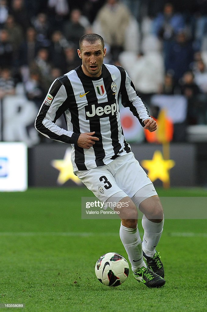 Giorgio Chiellini of FC Juventus in action during the Serie A match between FC Juventus and Calcio Catania at Juventus Arena on March 10, 2013 in Turin, Italy.