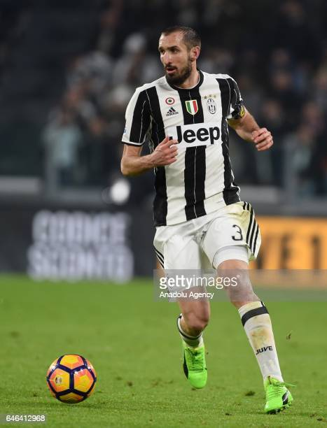 Giorgio Chiellini of FC Juventus in action during the TIM Cup match between Juventus FC and SSC Napoli at Juventus Stadium in Turin Italy on February...