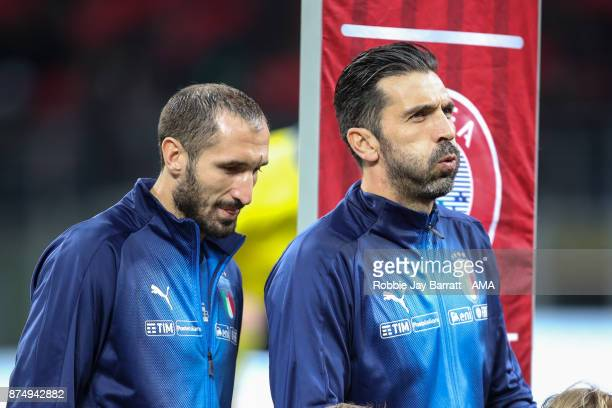 Giorgio Chiellini of Italy and Gianluigi Buffon of Italy during the FIFA 2018 World Cup Qualifier PlayOff Second Leg between Italy and Sweden at San...