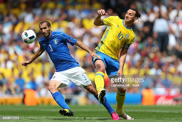 Giorgio Chiellini of Italy and Zlatan Ibrahimovich of Sweden during the UEFA EURO 2016 Group E match between Italy and Sweden at Stadium Municipal on...