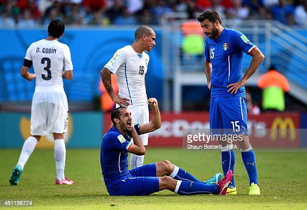 Giorgio Chiellini of Italy appeals to referees during the 2014 FIFA World Cup Brazil Group D match between Italy and Uruguay at Estadio das Dunas on...