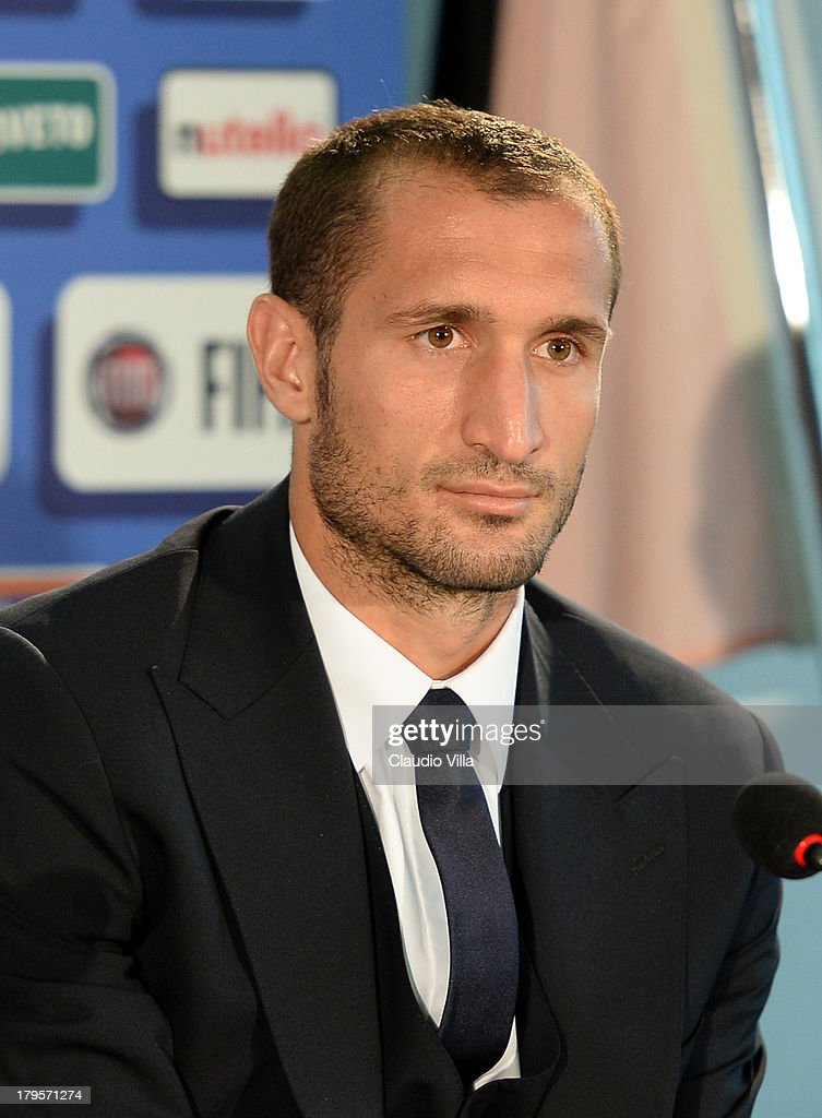 <a gi-track='captionPersonalityLinkClicked' href=/galleries/search?phrase=Giorgio+Chiellini&family=editorial&specificpeople=605793 ng-click='$event.stopPropagation()'>Giorgio Chiellini</a> of Italy attends a press conference, on the eve of their FIFA World Cup qualifier against Bulgaria, at Stadio Renzo Barbera on September 5, 2013 in Palermo, Italy.