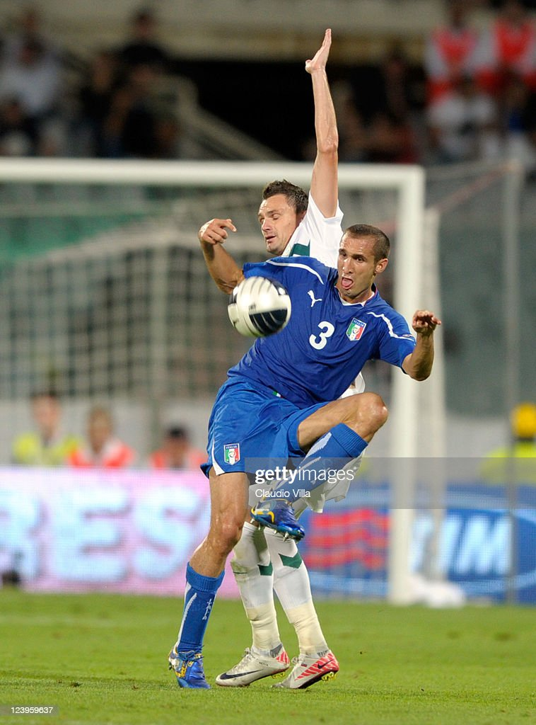 Giorgio Chiellini of Italy battles for the ball during the EURO 2012 Qualifier match between Italy and Slovenia at Stadio Artemio Franchi on September 6, 2011 in Florence, Italy.