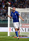 Giorgio Chiellini of Italy celebrates after scoring the opening goal during the EURO 2016 Group H Qualifier match between Italy and Azerbaijan at...