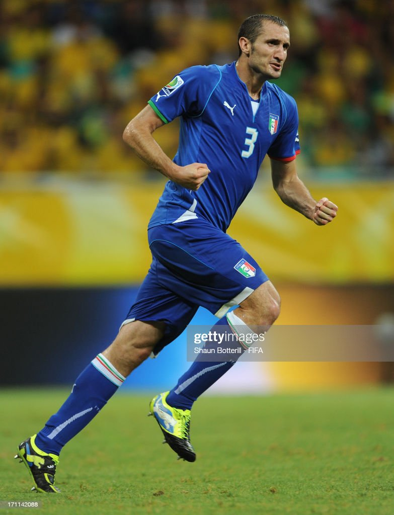 Giorgio Chiellini of Italy (3) celebrates as he scores their second goal during the FIFA Confederations Cup Brazil 2013 Group A match between Italy and Brazil at Estadio Octavio Mangabeira (Arena Fonte Nova Salvador) on June 22, 2013 in Salvador, Brazil.