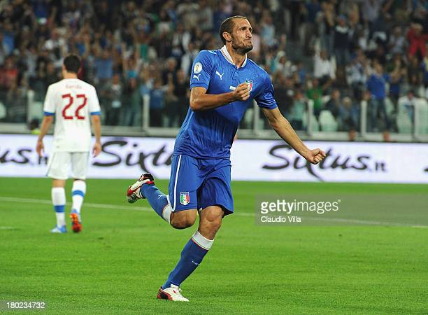 Giorgio Chiellini of Italy celebrates scoring the first goal during the FIFA 2014 World Cup Qualifier group B match between Italy and Czech Republic...