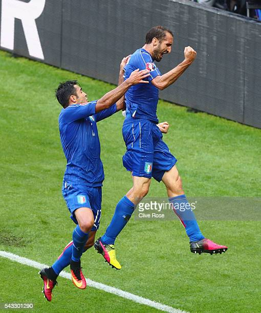 Giorgio Chiellini of Italy celebrates scoring with Eder after scoring the opening goalduring the UEFA EURO 2016 round of 16 match between Italy and...