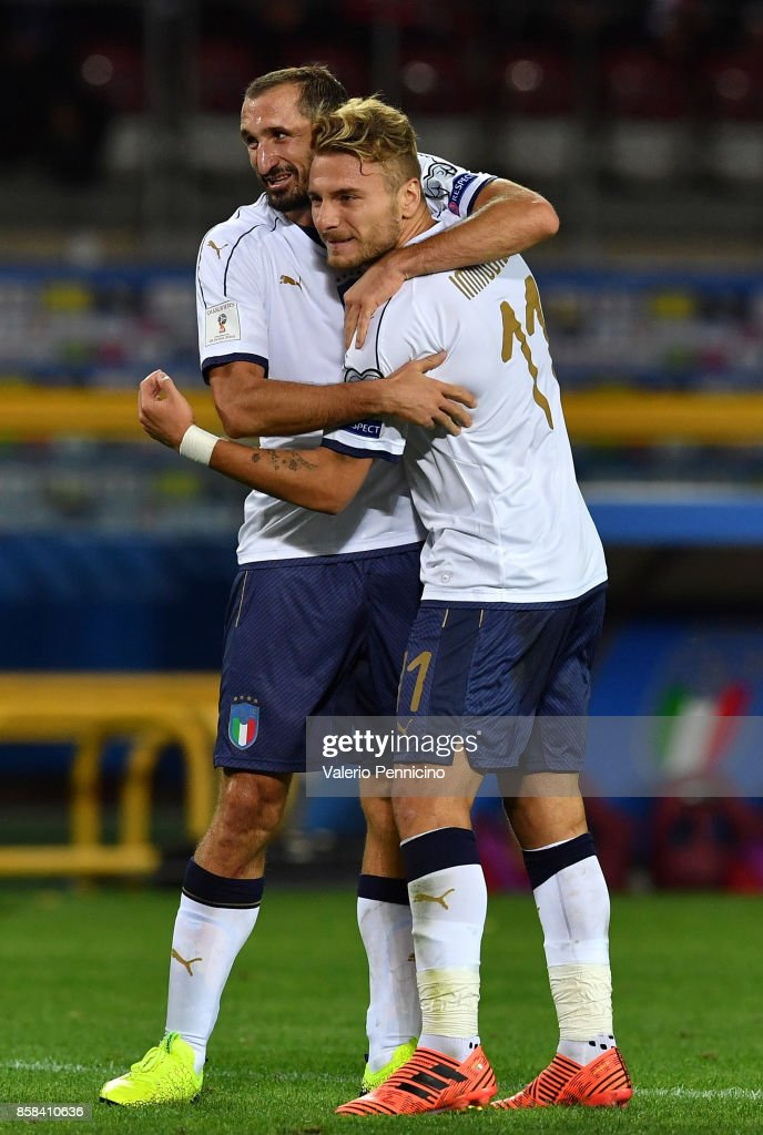 Giorgio Chiellini of Italy celebrates with Ciro Immobile after scoring the opening goal during the FIFA 2018 World Cup Qualifier between Italy and FYR Macedonia at Stadio Olimpico on October 6, 2017 in Turin, Italy.