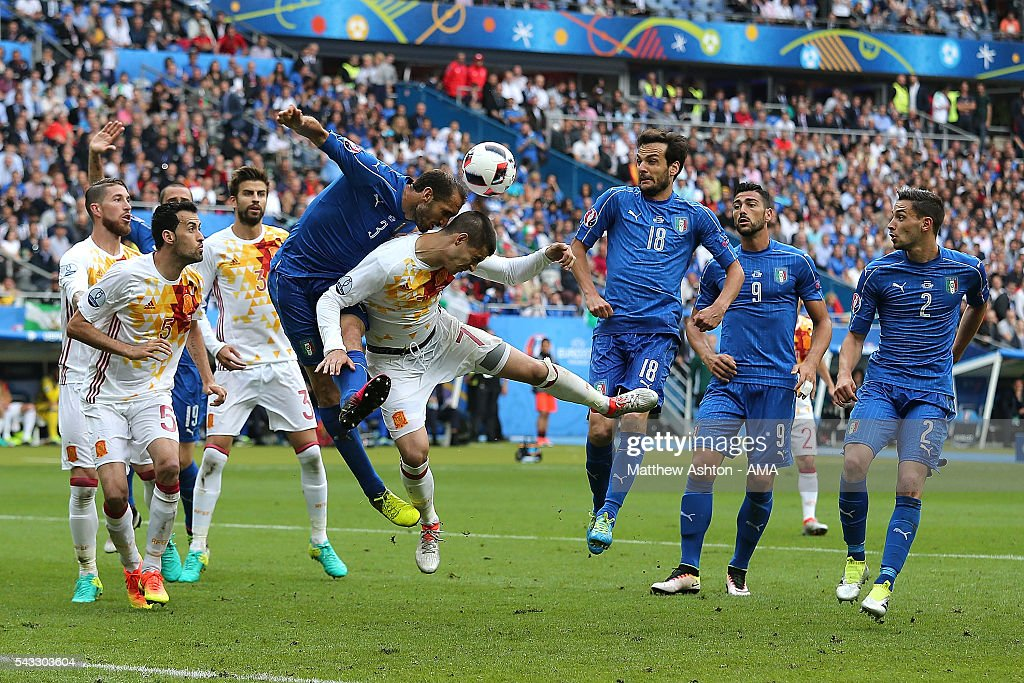 Giorgio Chiellini of Italy competes with Alvaro Morata of Spain during the UEFA Euro 2016 Round of 16 match between Italy and Spain at Stade de France on June 27, 2016 in Paris, France.