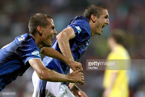 Giorgio Chiellini of Italy during the 2006 UEFA European Under 21 Championship Group B match between Italy and Ukraine in Agueda Portugal on May 26...
