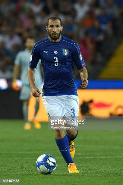 Giorgio Chiellini of Italy in action during the FIFA 2018 World Cup Qualifier between Italy and Liechtenstein at Stadio Friuli on June 11 2017 in...