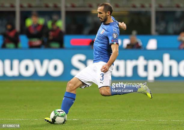 Giorgio Chiellini of Italy in action during the FIFA 2018 World Cup Qualifier PlayOff Second Leg between Italy and Sweden at San Siro Stadium on...