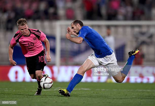 Giorgio Chiellini of Italy in action during the international friendly between Italy and Scotland on May 29 2016 in Malta Malta
