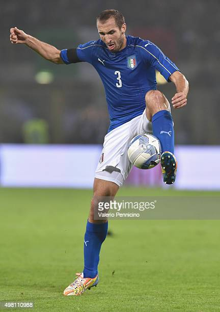 Giorgio Chiellini of Italy in action during the international friendly match between Italy and Romania at Stadio Renato Dall'Ara on November 17 2015...