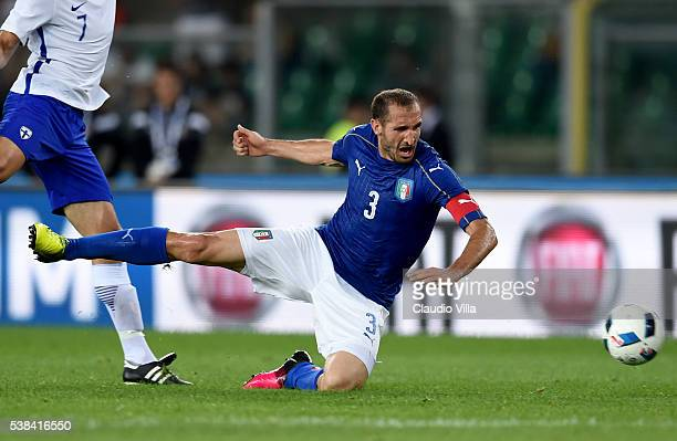 Giorgio Chiellini of Italy in action during the international friendly match between Italy and Finland on June 6 2016 in Verona Italy